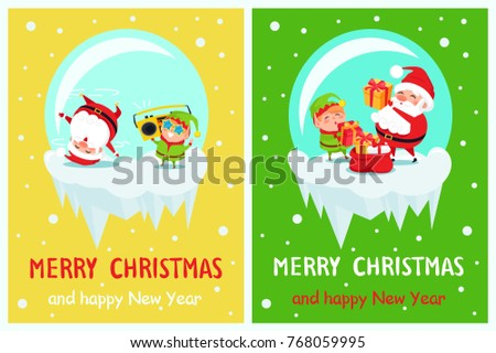 Happy New Year Merry Christmas Santa and Elf on icy cliff dance at cute music with retro tape recorder, put gift boxes into red sack cartoon characters