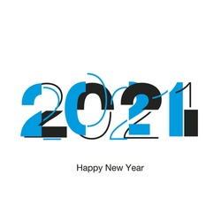 Happy New Year 2021 modern futuristic abstract black light typography logo icon design blue black white greeting card