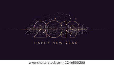 happy new year 2019 modern vector illustration concept for background greeting card website