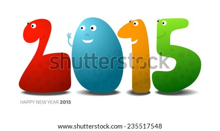 Happy New Year 2015, monsters in the shape of numbers, vector cartoon illustration