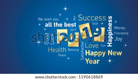 Happy New Year 2019 negative space cloud text gold white blue vector