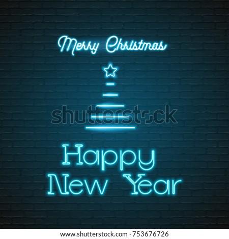 Happy  New Year Neon Light Christmas Tree Blue Light