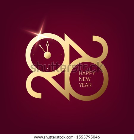 Happy New Year 2020 - New Year hining background with gold clock and wishes. Premium 2020 logotype, sign, logo, symbol with golden numbers.  Elegant eve party banner design, vector icon for calendar.