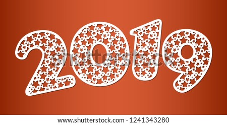 happy new year numbers 2019 for laser cutting with pattern of stars template for new