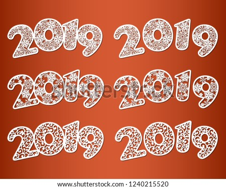 happy new year numbers 2019 set templates for laser cutting with pattern of snowflakes and swirls