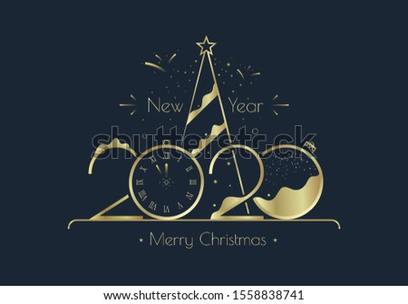 Happy New Year 2020 numbers typography greeting card design with stylized Golden clock, xmas tree and decoration on dark background. Merry Christmas golden line illustration.