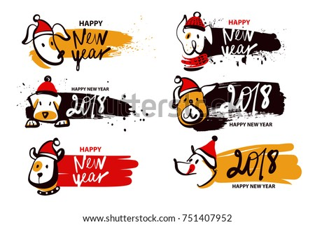Happy new year of earth dog. Symbol chinese moon calendar 2018. Sketch vector illustration.