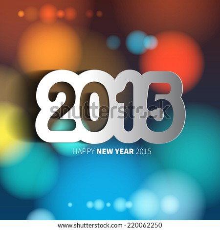 Happy New Year 2015 on blurred background with papercut year vector illustration
