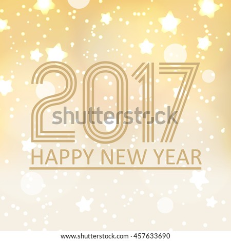 happy new year 2017 on shiny abstract background with stars and lights eps10 #457633690