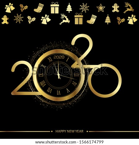 Happy New Year or Xmas greeting card with gold clock. 2020 Vector.