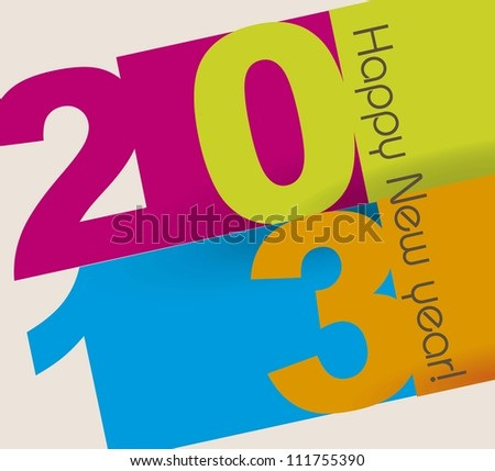 happy new year over beige background,2013. vector illustration