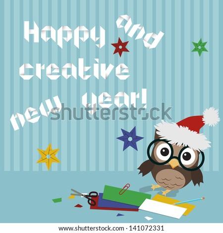 happy new year owl creative