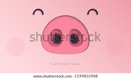 Happy New Year 2019 paper cut background. The Year of the Pig. Vector illustration of cute funny piglet face for your poster, banner, postcard, invitation or greeting card design