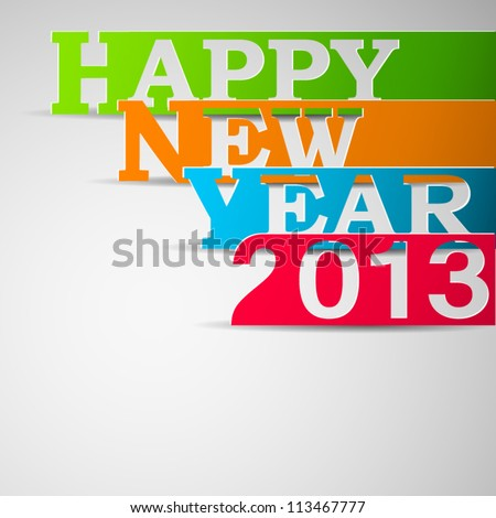 Happy new year paper strips illustration