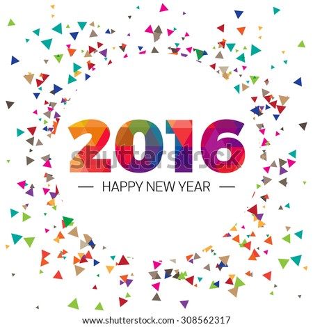 Happy new year 2016 paper text triangular scatter Design