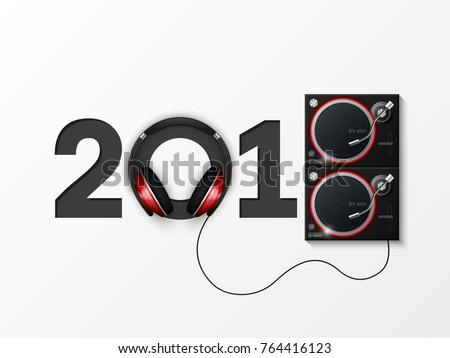 Happy New Year 2018 party headphones DJ's music background. Greeting card. Celebrate earphones, dancing, disco brochure