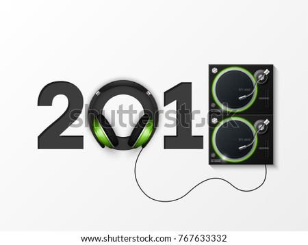 Happy New Year 2018 party headphones DJ's music background. Greeting card headphone DJ player headphone 2018 flyer. Headset DJ equipment date 2018 year. Celebrate earphones dancing disco brochure