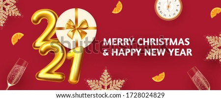 Happy New 2021 Year! Party poster template with 3D realistic text, champagne glasses and gift box. Festive header design. Christmas flyer template.