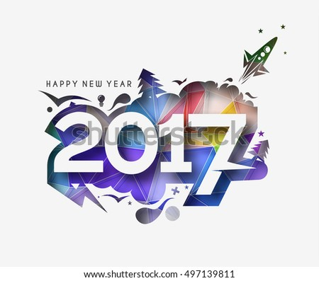 Happy new year 2017 Peel-off Text Vector Design Background