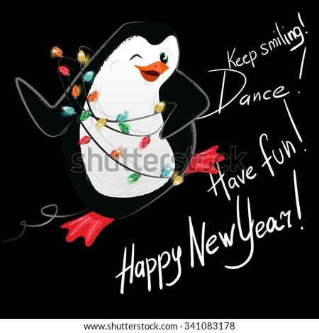 happy new year penguin dance