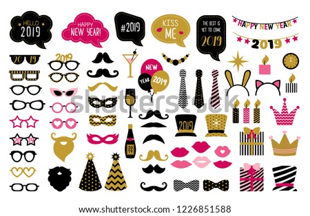 Happy new year 2019 photo booth props. New year eve party.  Photobooth vector set for masquerade. Black and gold mask, mustache, hat, glasses, bow tie, kiss, beard. Christmas and new year costume.