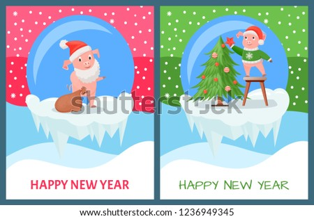 Stock Photo Happy New Year, pig decorating evergreen Christmas tree vector. Pine decorated with baubles and garlands. Piggy carrying bag with childrens presents