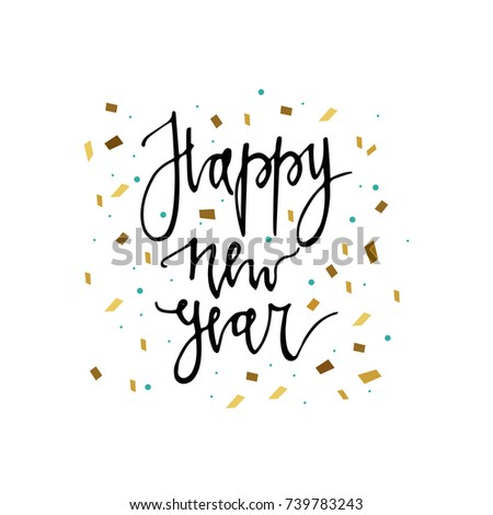 Happy new year postcard template. Modern lettering isolated on white ...