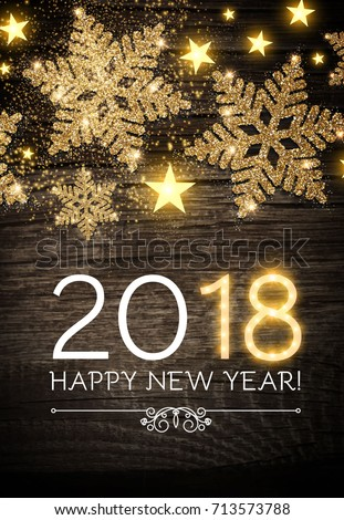 Happy New 2018 Year Poster Template with Shining Gold Snowflakes and Star on Wood Texture. Vector illustration