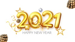 Happy New 2021 Year! Realistic 3D golden sign with serpentine wnd pine cones.