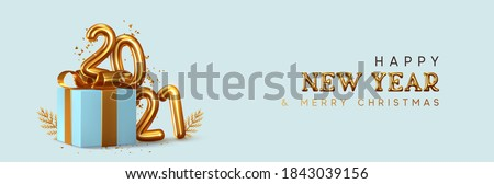 Happy New Year 2021. Realistic gift box Golden metal number. 3d render gold metallic sign and text letter. Celebrate party 2021. Christmas Poster, banner, cover card, brochure, flyer, layout design