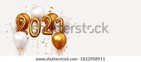 Happy New Year 2021. Realistic gold and white balloons. Background design metallic numbers date 2021 and helium ballon on ribbon, glitter bright confetti
