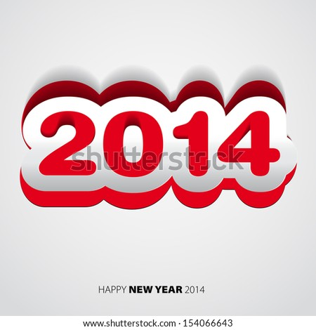Happy New Year 2014 red and white vector card