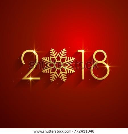happy new year 2018 red golden background design