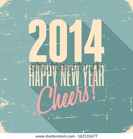 Happy New Year 2014 retro greeting card design.