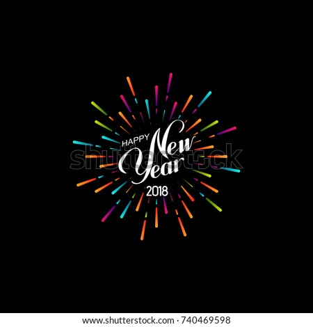 Happy New 2018 Year. Retro label with multicolored burst or light rays. Vector holiday illustration. Festive firework or confetti explosion. Vintage sign. Decoration element for design
