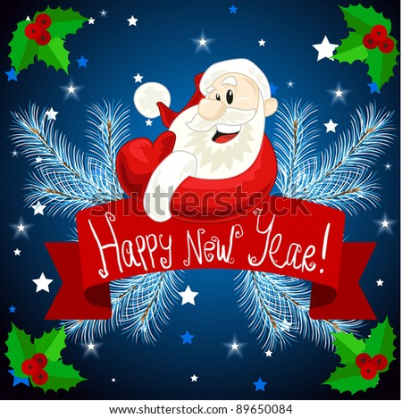Happy new year santa - stock vector