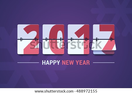 Happy New Year 2017 scoreboard vector illustration. Mechanical clock on digits board panel in flat style. Design for greeting card, poster or web pages for celebrating 2017 year.