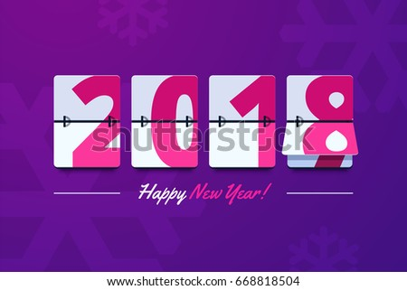 Happy New Year 2018 scoreboard vector illustration. Mechanical clock on digits board panel in flat style. Design for greeting card, poster or web pages for celebrating 2018 year.