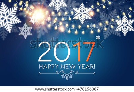 Happy New 2017 Year. Seasons Greetings. Snowflakes ans Light Garlands. Colorful Winter Background. Vector illustration