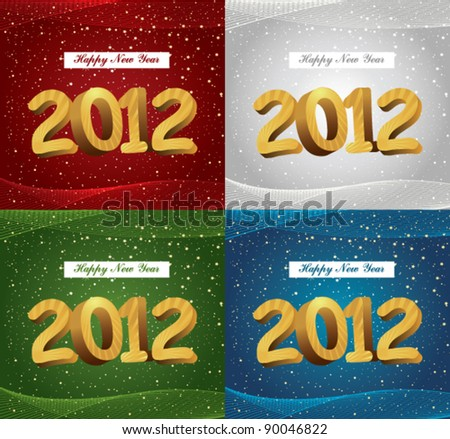 Happy new year 2012 set. Vector