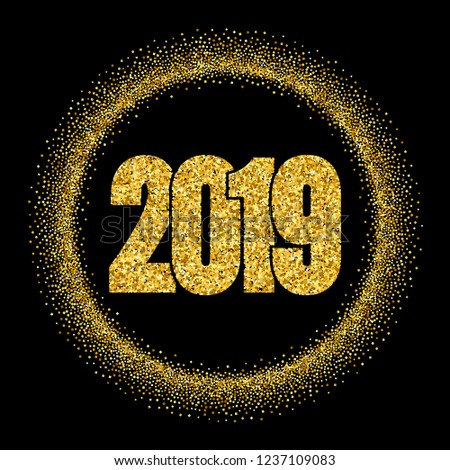 graphic happy new year shiny gold number in circle frame golden glitter border isolated on black