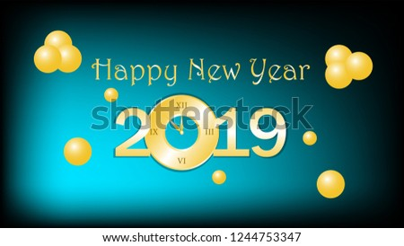 happy new year 2019 shiny golden text with clock new year banner wallpaper with baloon