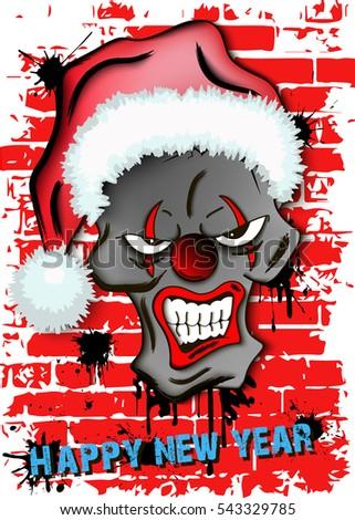 happy new year skull scary