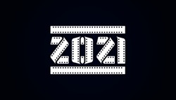 Happy 2021 new year strip film on white, Vector illustration