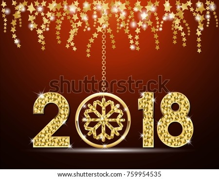 happy new year 2018 template design with inspiration from snowflake gold color vector