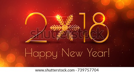Happy New Year 2018 text design. Dark vector greeting illustration with golden numbers