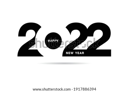 Happy New Year 2022 text design. for Brochure design template, card, banner. Vector illustration. Isolated on white background.