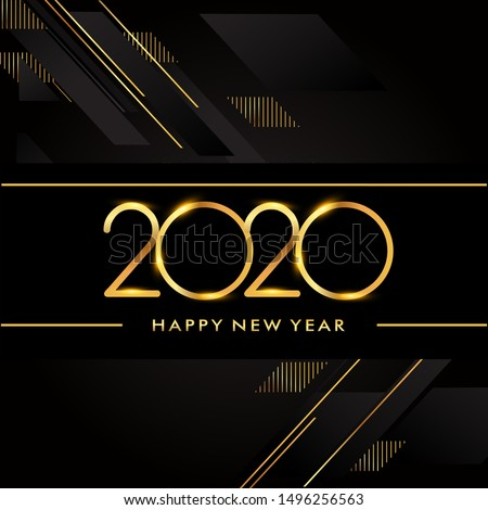 Happy New Year 2020 text design gold colored isolated on black background, vector elements for calendar and greeting card.