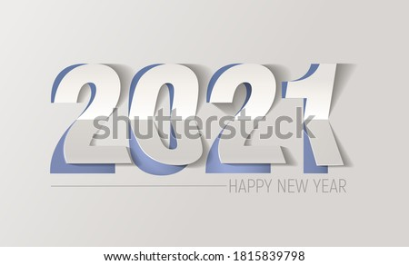 Happy New Year 2021 Text Design Patter, paper cut typography, alphabet letters and numbers vector illustration.