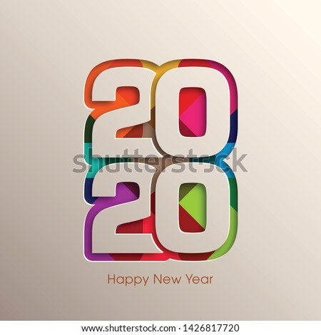 Happy new year 2020 Text Design vector.